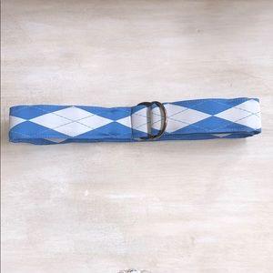 Jcrew blue/white argyle belt size S/M